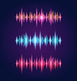 audio equalizer neon set with sound waves symbols vector image