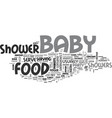 baby shower food text word cloud concept vector image vector image