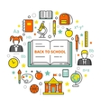Back to School Line Art Thin Icons Set vector image vector image