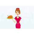 Beautiful Waitress serving a turkey vector image vector image