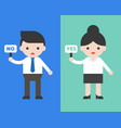 businessman hold no sign and businesswoman hold vector image vector image
