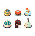 cakes tasty party bakery food cream cakes vector image