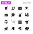 coronavirus 16 solid glyph black icon set vector image vector image