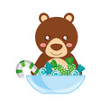 cute bear with bowl sweet candy cane vector image