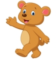 Cute brown bear cartoon waving hand vector image vector image