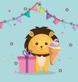 cute lion with gift and ice cream kawaii birthday vector image