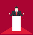 devil businessman talking on podium vector image