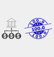 dotted bank hierarchy icon and distress 100 vector image vector image