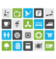 Flat Hotel and Motel objects icons vector image vector image