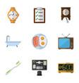 flat icon lifestyle set of dental timer bureau vector image vector image