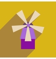 Flat web icon with long shadow mill vector image vector image