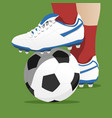 footballer stepping on the ball in a soccer match vector image