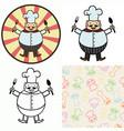 funny cartoon cook vector image vector image
