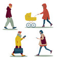 group modern walking people in casual clothes vector image vector image
