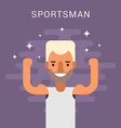 Happy Male Cartoon Character Sportsman Flat Design vector image vector image