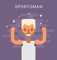 happy male cartoon character sportsman flat design vector image vector image
