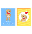 happy valentines day posters set plush bears toys vector image vector image