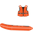 Inflatable boat and life vest vector image vector image