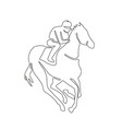 jockey horse racing continuous line vector image