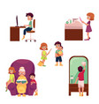 kids children home activities doing chores vector image vector image
