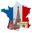 landmarks of france vector image vector image