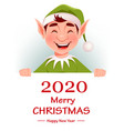 merry christmas greeting card with funny elf vector image