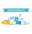 Milk products still-life Flat style Dairy vector image
