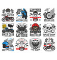 motorsport racing bikers club and service icons vector image vector image