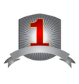Number One label with silver ribbon vector image vector image