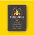 oktoberfest party flyer vintage typography vector image vector image