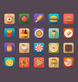 pack food elements flat icons vector image