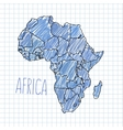 Pen hand drawn African map on paper