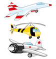plane fighter and helicopter vector image vector image