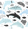 seamless pattern with dolphins in childish style vector image
