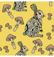 Seamless pattern with forest hare and mushroom vector image vector image