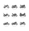 set glyph icons motorcycle vector image