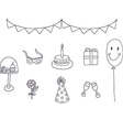 Set of birthday party elements vector image vector image