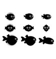 set of pufferfish blowfish and globefish vector image