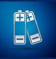 silver battery icon isolated on blue background vector image vector image