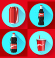 soda bottle set with red lable flat icon vector image vector image