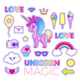 stickers set with unicorn love text crown vector image