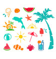 summer hand drawn beach icon element set vector image