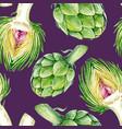 watercolor artichoke pattern vector image vector image