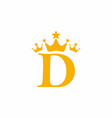 yellow d initial letter with triple crown symbol vector image vector image