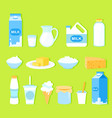 set of milk products in flat vector image