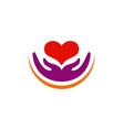love heart care valentine logo vector image