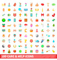 100 care and help icons set cartoon style vector image vector image