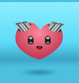 a cute heart character with exhaust pipes vector image vector image