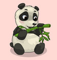 baby panda with sprig of bamboo on pink background vector image