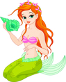Beautiful Mermaid with sea shell vector image vector image